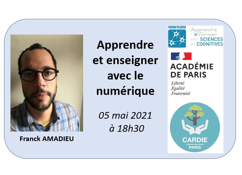 """Webinaire """"Apprendre et enseigner avec le numérique"""" avec Franck Amadieu"""